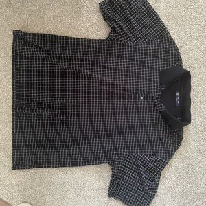 Oxford Golf Black and White Square Collar Shirt